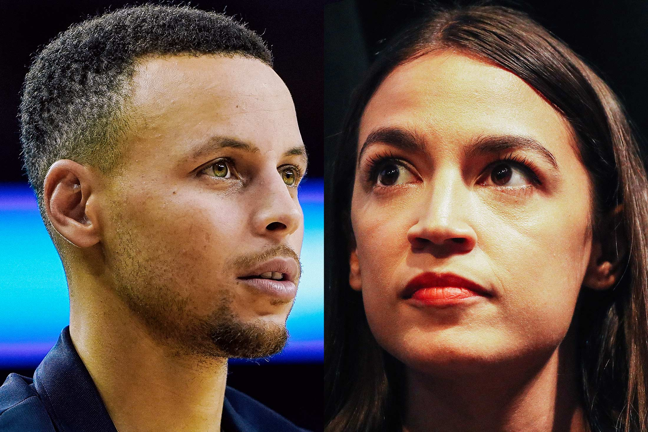 Stephen Curry, Alexandria Ocasio-Cortez.