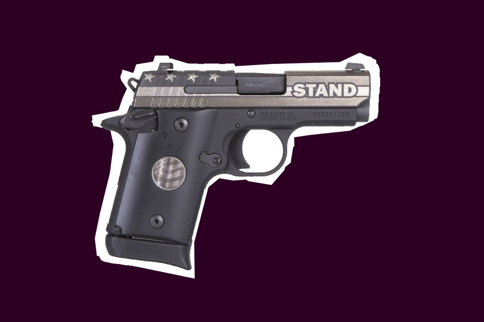 A special-edition P938 with the word STAND on it.
