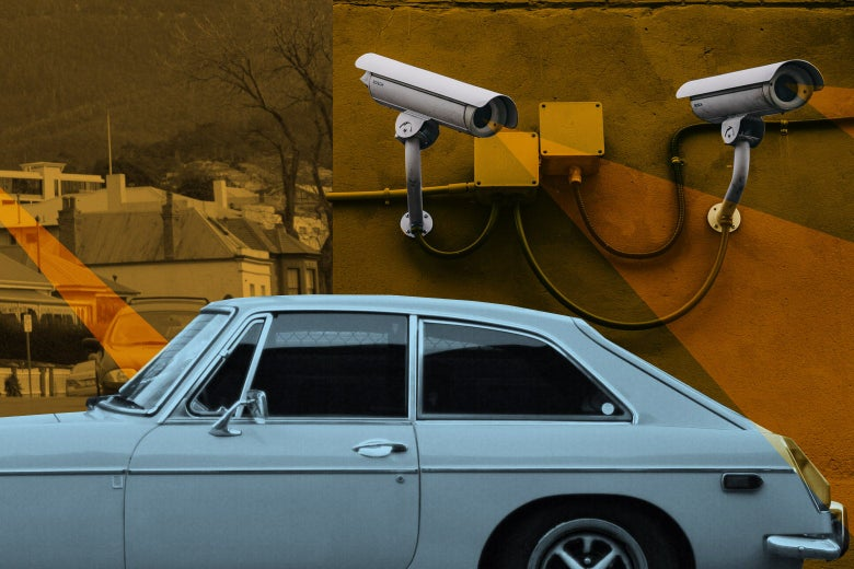 Photo illustration of a street with surveillance cameras.
