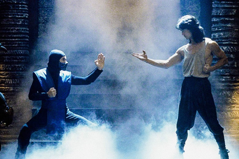 Sub-Zero and Liu Kang face off with fog flowing dramatically around them