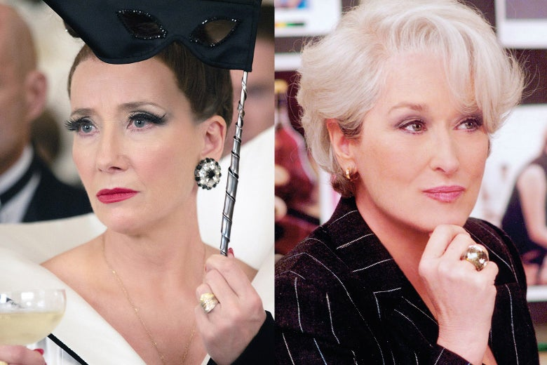 Emma Thompson in Cruella and Meryl Streep in The Devil Wears Prada.