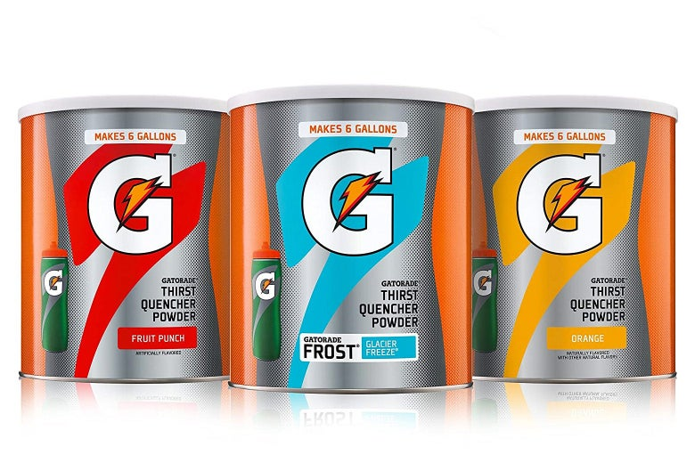 Gatorade powder containers.