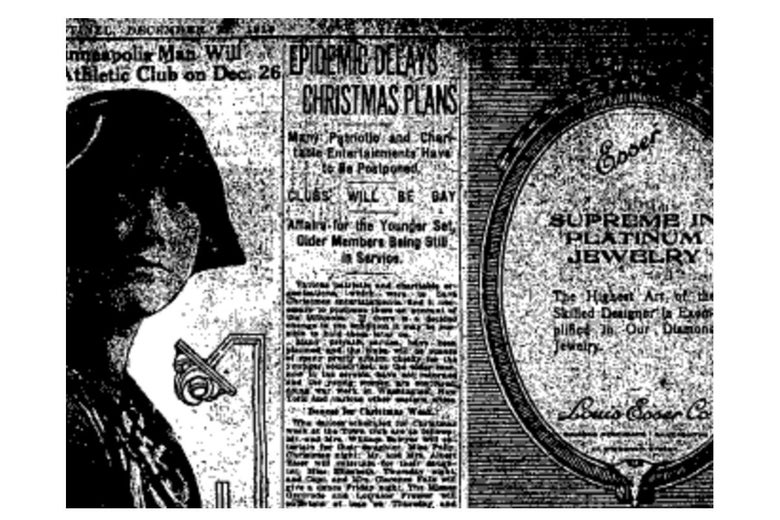 "A headline reads, ""EPIDEMIC DELAYS CHRISTMAS PLANS"" in an old newspaper clipping."