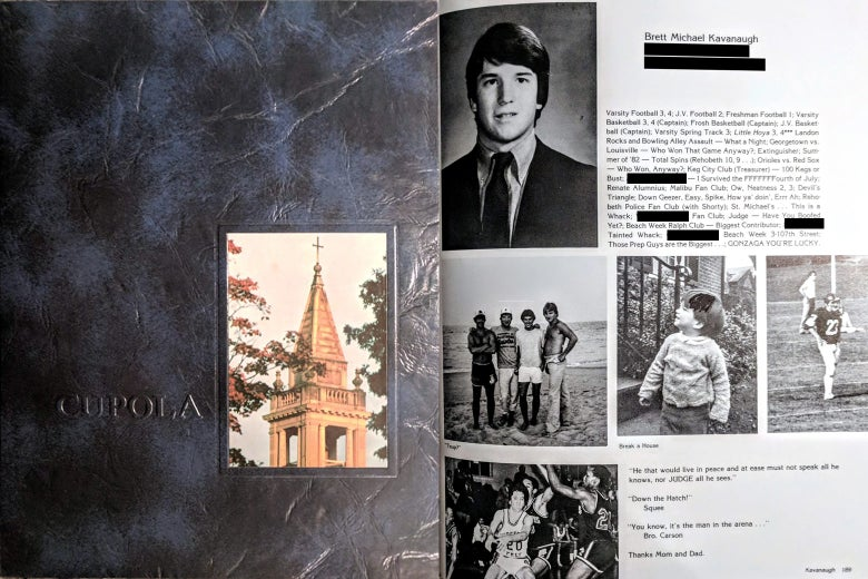 "Side by side: a yearbook cover with ""Cupola"" on top and Brett Kavanaugh's yearbook page."
