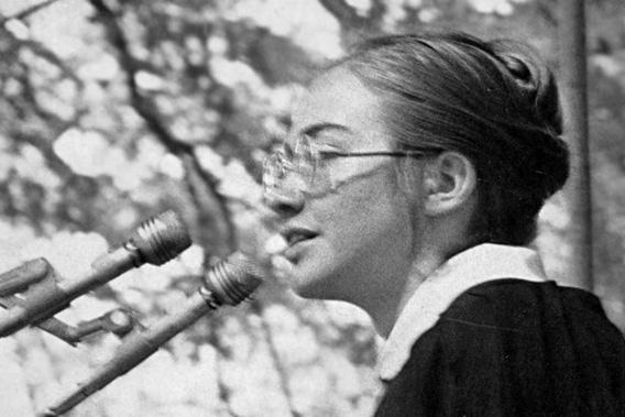 Hillary Rodham '69, student speaker, Commencement 1969.