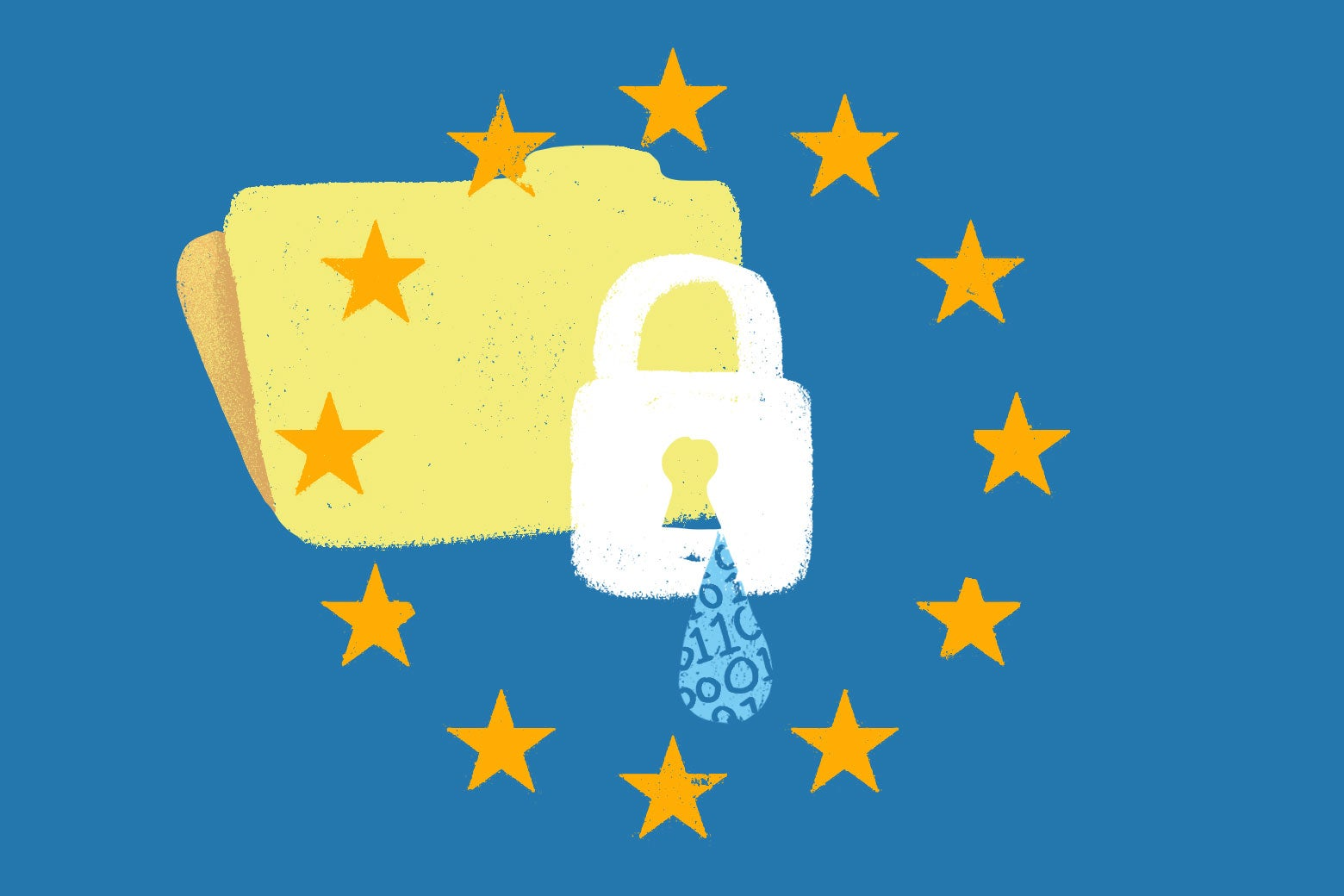 GDPR flag with file behind it leaking data in 0s and 1s.