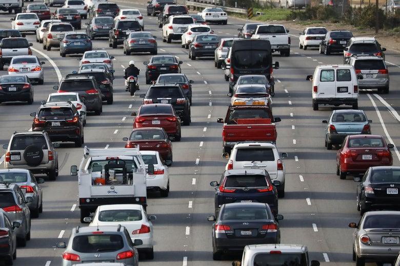 Cars sitting in traffic on an LA freeway