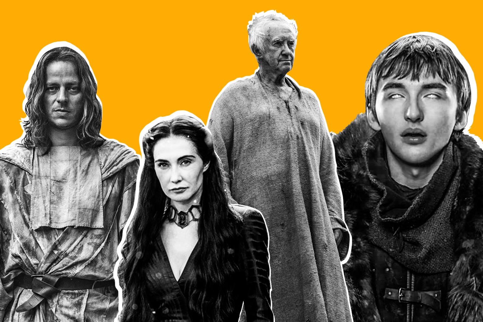 Jaqen H'ghar, Melisandre, the High Sparrow, and Bran Stark.