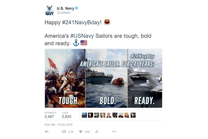 Screenshots of a deleted @USNavy tweet, provided in response to one of the author's FOIA requests.
