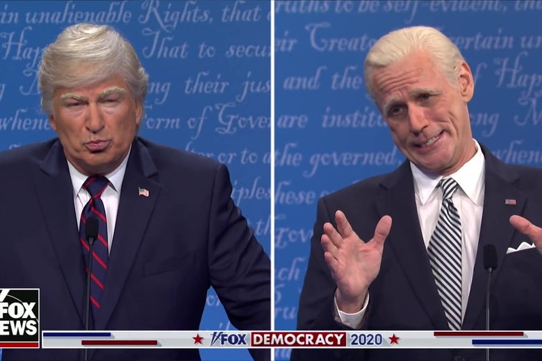 Alec Baldwin as Donald Trump and Jim Carrey as Joe Biden in a split-screen still from Saturday Night Live.