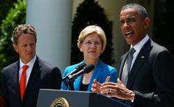 U.S. Treasury Secretary Timothy Geithner, Special Advisor on the Consumer Financial Protection Bureau Elizabeth Warren and U.S. President Barack Obama. Click image to expand.