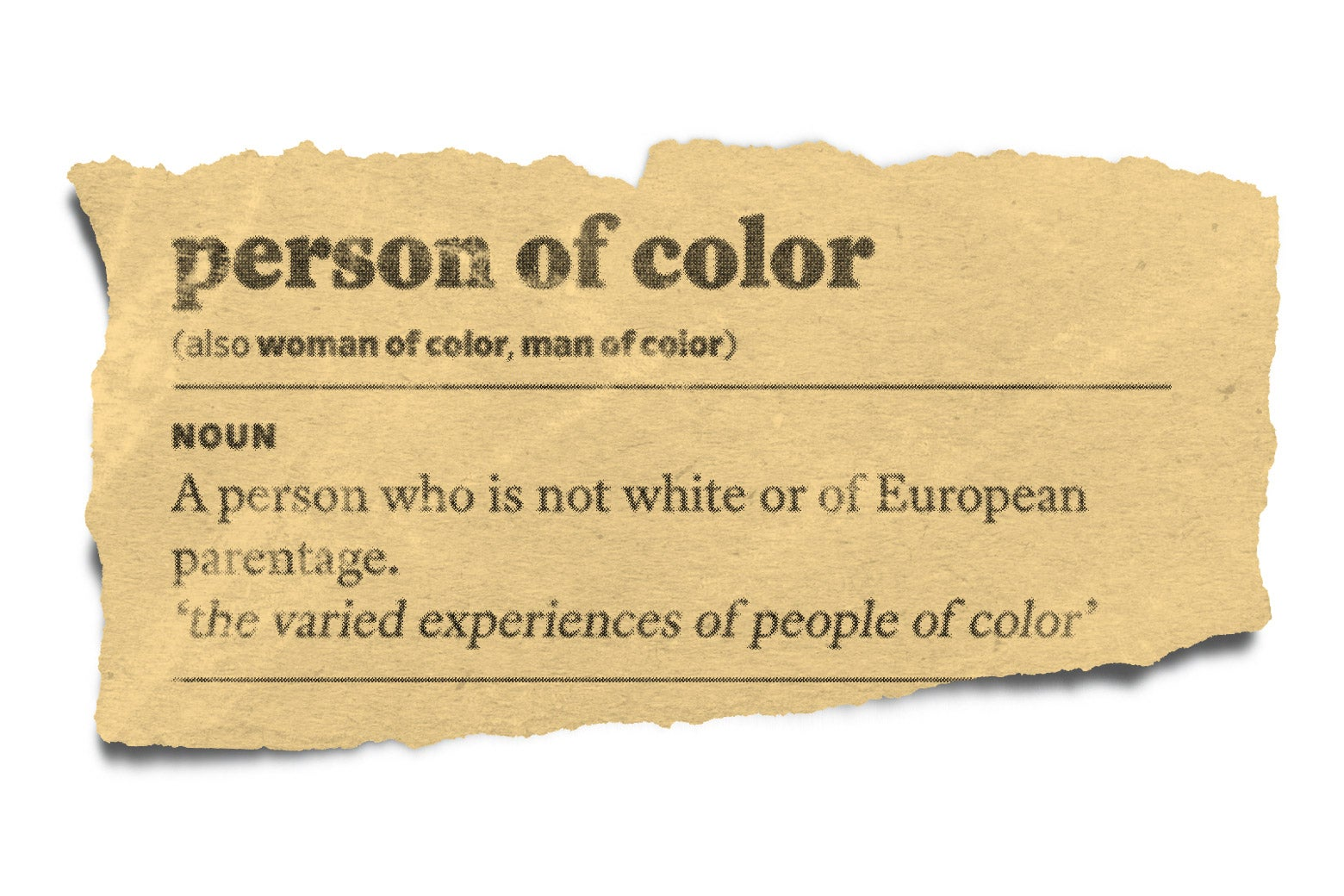 A torn page from a dictionary definition of people of color