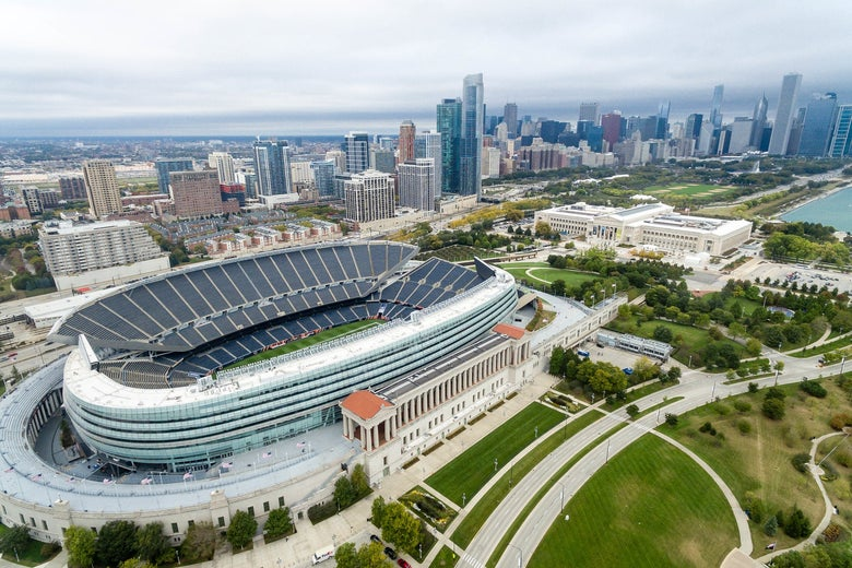 An aerial photo of Soldier Field in Chicago.