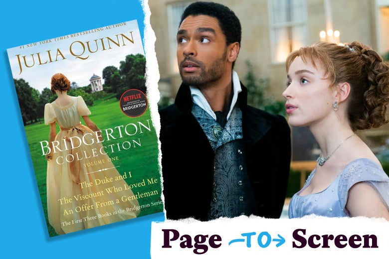 Left: The cover of Bridgerton Collection: Volume One. Right: Regé-Jean Page and Phoebe Dynevor in Bridgerton.