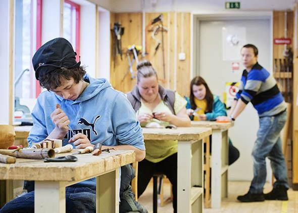 High school students at Bokenskolan in Jokkmokk, Sweden, participate in a woodwork and handicraft class as part of an upper-secondary program on Nov. 6, 2013.
