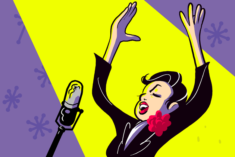 Illustration of Judy Garland singing