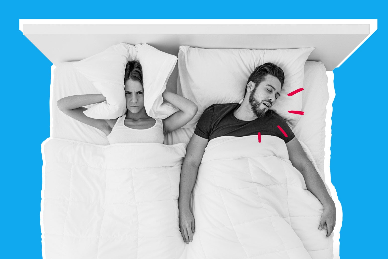 Couple in bed with man snoring.