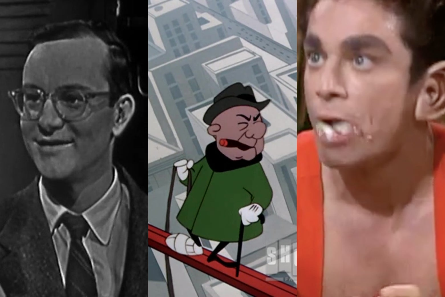 Wally Cox as Mr. Peepers, the animated character Mr. Magoo, and Chris Kattan as the other Mr. Peepers.