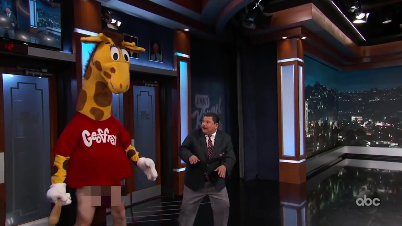 A drunk, naked-from-the-waist-down Geoffrey the Giraffe threatens Guillermo with a bat.