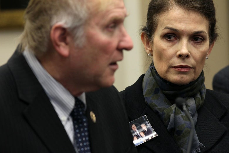 WASHINGTON, DC - MARCH 01:   U.S. Rep. Steve Chabot (R-OH) (L) speaks as Victoria Cummock (R), widow of Pan Am 103 victim John Cummock, listens during a news conference March 1, 2011 on Capitol Hill in Washington, DC. The news conference was to focus on the developments in Libya and to call on securing information on the role played by Muammar Gaddafi and other regime officials in attacks against Western targets in the 1980s and 1990s.  (Photo by Alex Wong/Getty Images)