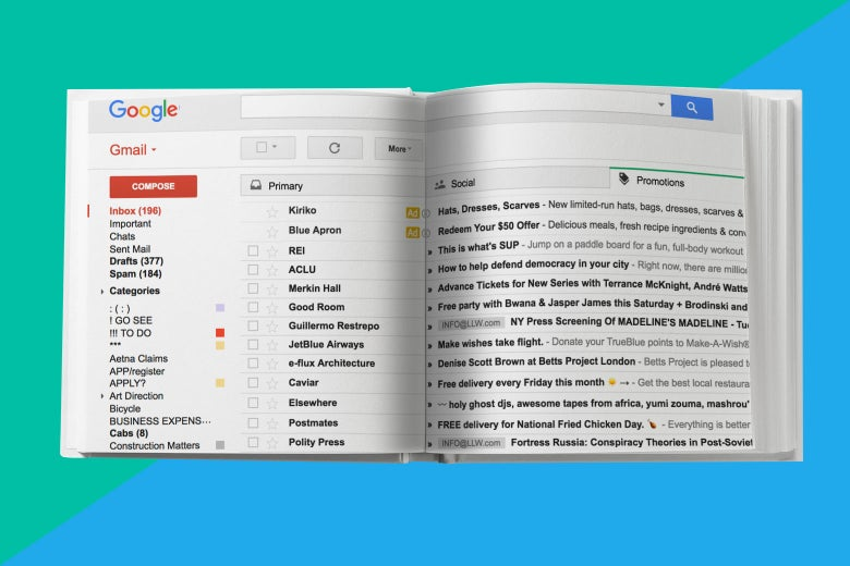 A Gmail inbox presented like an open book.