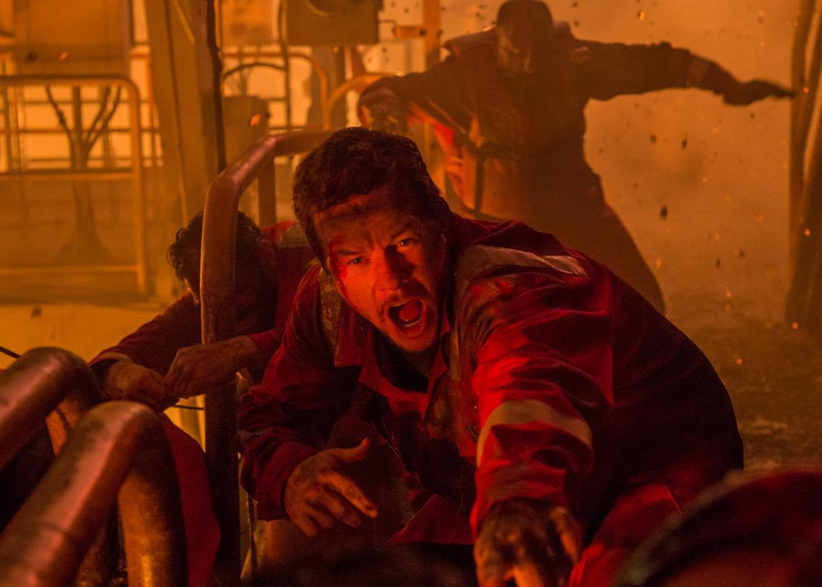 Mark Wahlberg as Mike Williams in Deepwater Horizon.