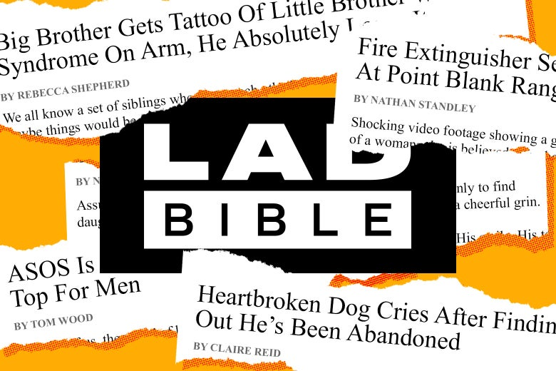 LADbible logo surrounded by newspaper-like clippings of tales from the website.