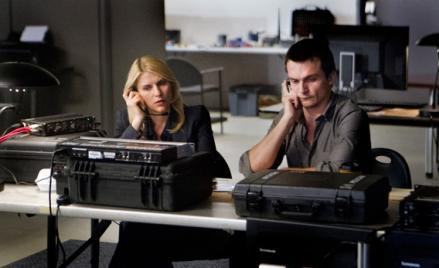 Claire Danes as Carrie Mathison and Rupert Friend as Peter Quinn in Homeland