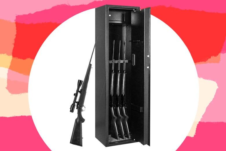 A locked vault of guns.