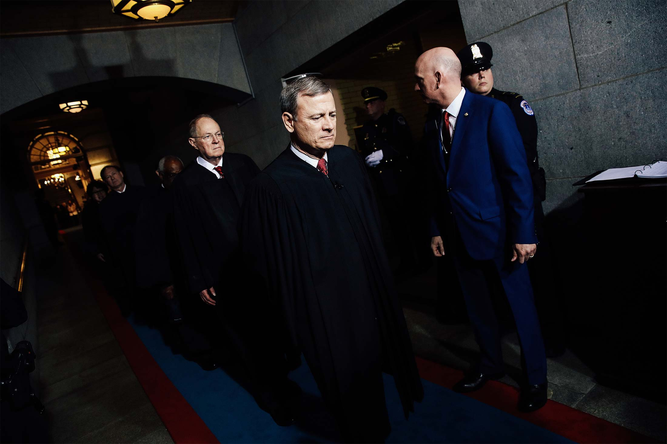 Supreme Court Chief Justice John Roberts and Justice Anthony Kennedy arrive at the U.S. Capitol on Jan. 20, 2017, in Washington, for the inauguration of Donald Trump.