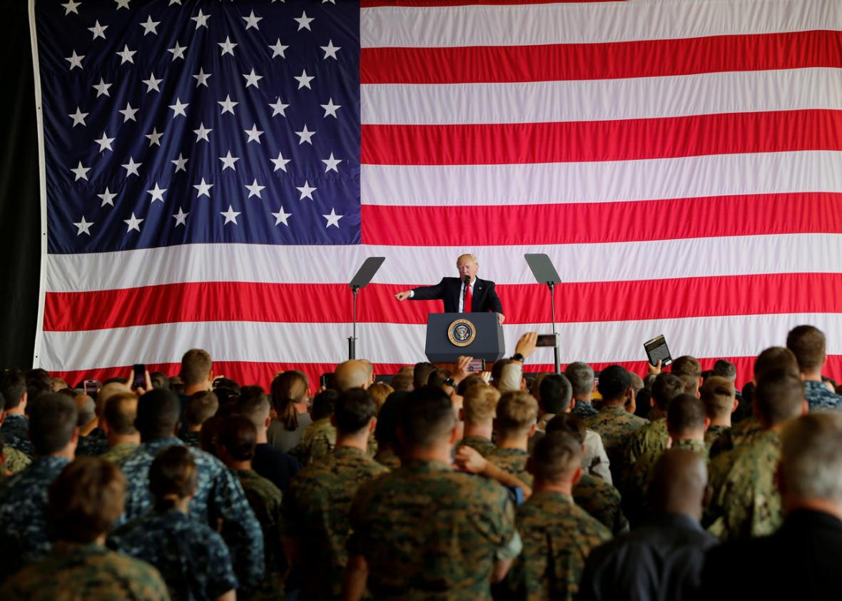 U.S. President Donald Trump delivers remarks to U.S. military