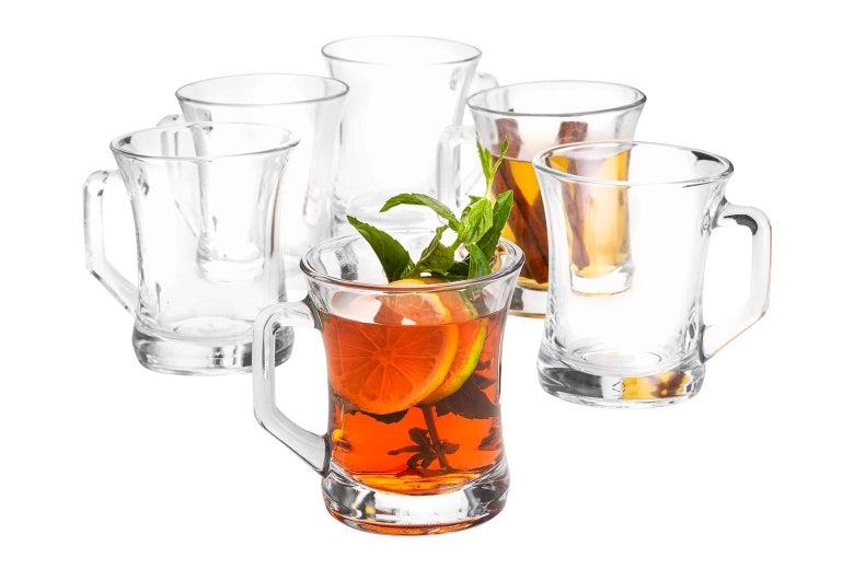 Glass mugs.