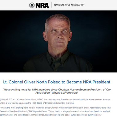 The NRA's press release announcing Oliver North's selection as its president.