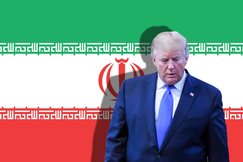 Trump casts a shadow on the Iranian flag.