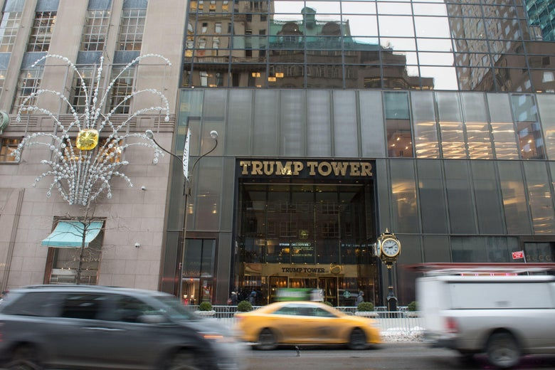 Cars drive past the front of Trump Tower on Fifth Avenue on January 8, 2018 in New York.         A fire in the Trump Tower ventilation system in New York City caused a serious injury earlier in the morning, a spokesman for the fire department said. The fire in this 58-story tower on 5th Avenue, occurred just before 7:00 am local time (12:00 GMT), in the heating system. / AFP PHOTO / Bryan R. Smith        (Photo credit should read BRYAN R. SMITH/AFP/Getty Images)