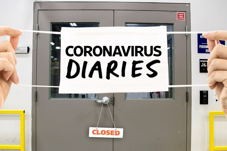 "Two hands hold a mask that says ""Coronavirus Diaries"" in front of closed lab doors."
