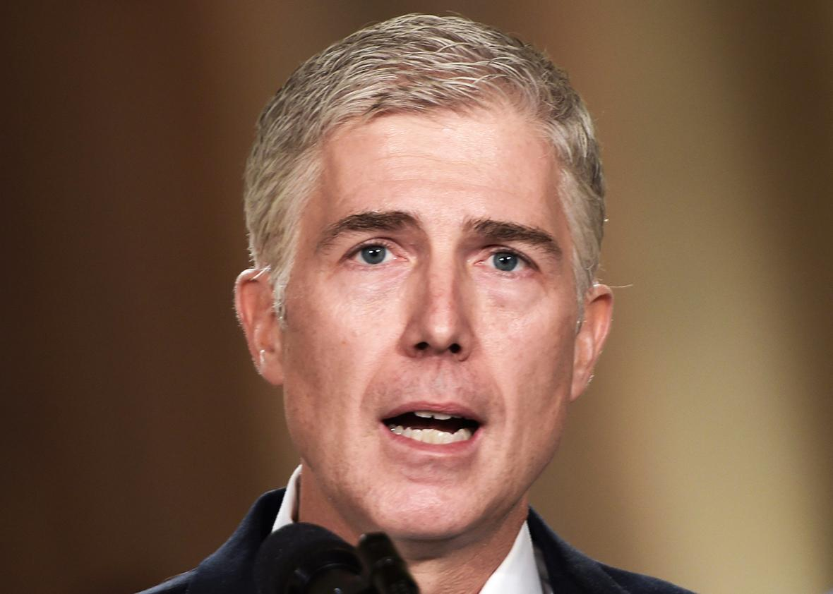Judge Neil Gorsuch speaks, after US President Donald Trump nominated him for the Supreme Court, at the White House in Washington, DC, on January 31, 2017.