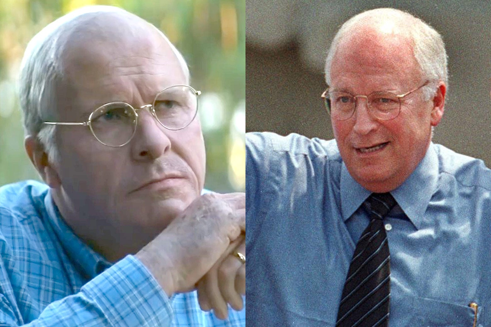 Side-by-side photos of Christian Bale as Dick Cheney, and Dick Cheney as seen in 2000.