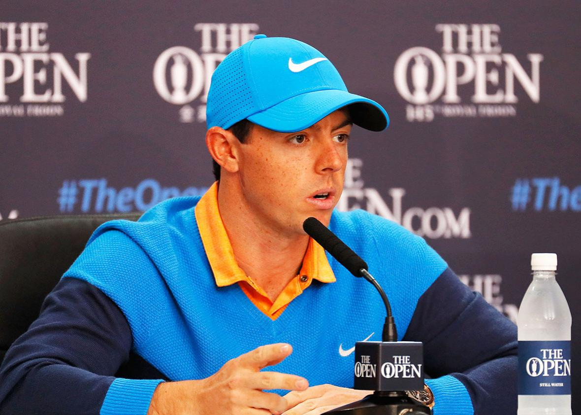 Rory McIlroy of Northern Ireland speaks at a press conference during previews ahead of the 145th Open Championship at Royal Troon on July 12, 2016 in Troon, Scotland.