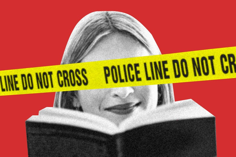 Woman smiling while reading a book with eyes obscured by caution tape.