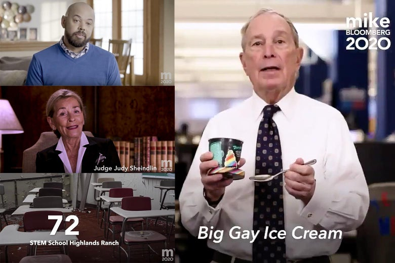 Screenshots of several Mike Bloomberg ads, including one of the candidate eating Big Gay ice cream.