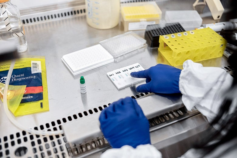Gloved hands of a doctor are seen pointing at some samples on a table.