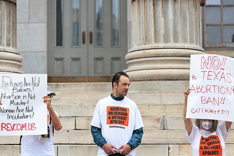 Demonstrators oppose Texas' six-week abortion ban.