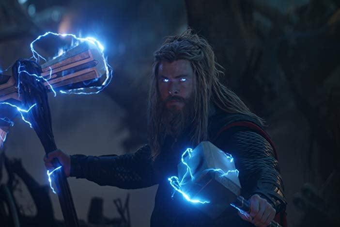 Chris Hemsworth as Thor with electrified hammers in a still from Avengers: Endgame.