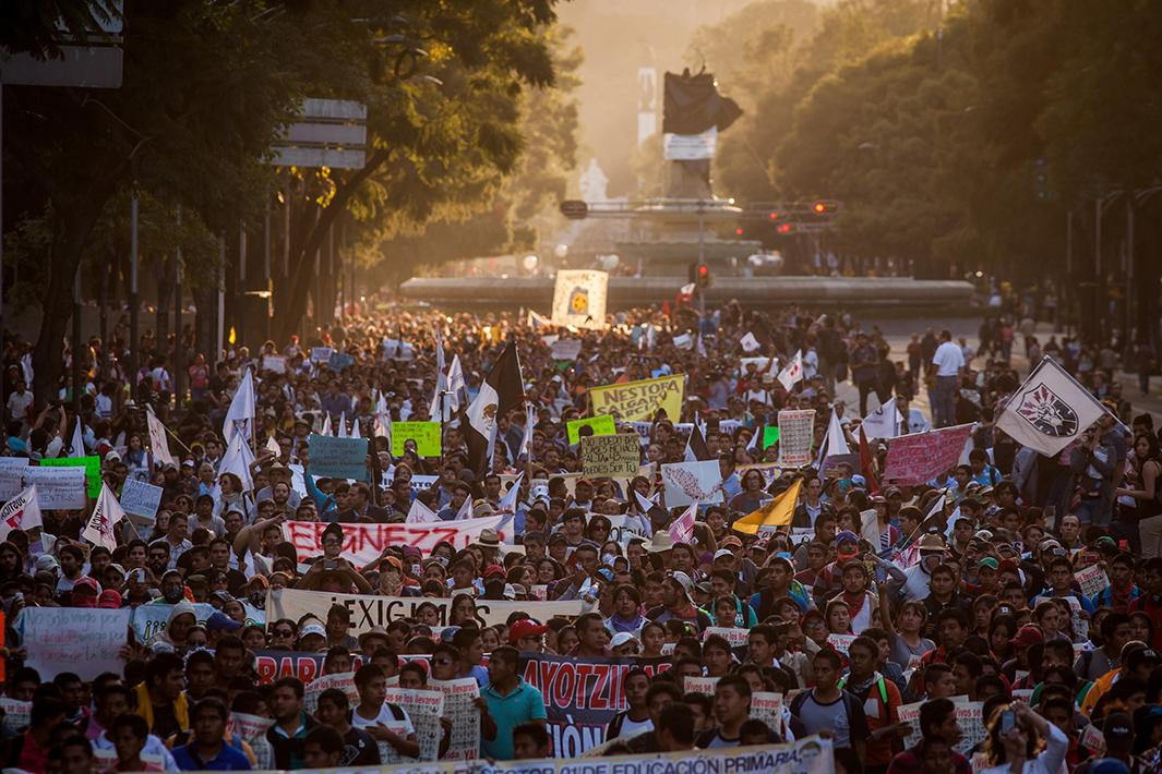 Demonstrators in Mexico City attend the third massive protest related to the case on November 5. Several universities in the country called a strike for 72 hours.