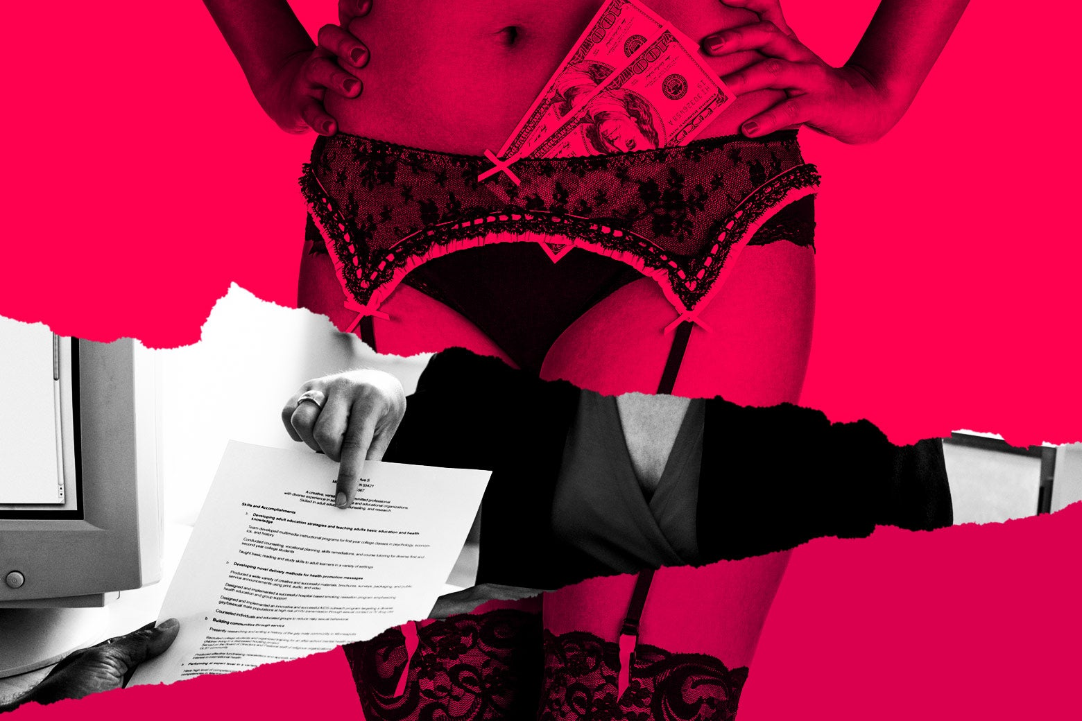 An illustration juxtaposing a sex worker and a job offer letter.