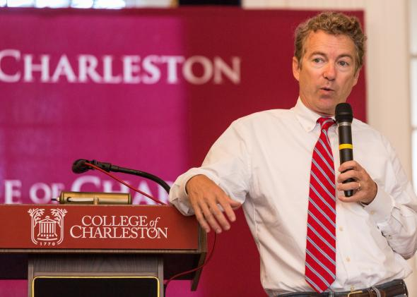 Sen. Rand Paul speaks to students at the College of Charleston during a town-hall meeting on Sept. 30, 2014, in Charleston, South Carolina.