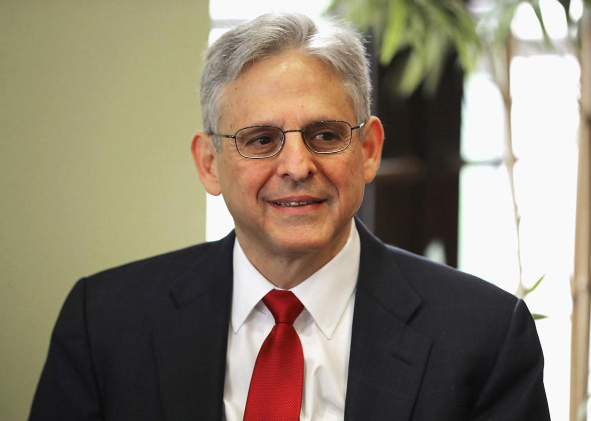 U.S. Supreme Court nominee Merrick Garland poses for photographs before meeting with Sen. Mazie Hirono in the Hart Senate Office Building on Capitol Hill May 18, 2016 in Washington, DC.