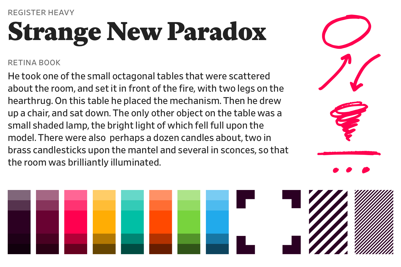 A sampling from Slate's new design toolkit and type and color palettes.