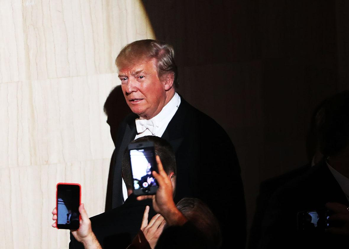 Donald Trump walks onto the stage while attending the annual Alfred E. Smith Memorial Foundation Dinner at the Waldorf Astoria on October 20, 2016 in New York City.